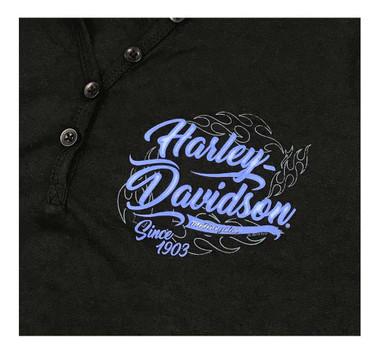 Harley-Davidson Women's Unveil H-D Long Sleeve Henley Shirt - Solid Black - Wisconsin Harley-Davidson