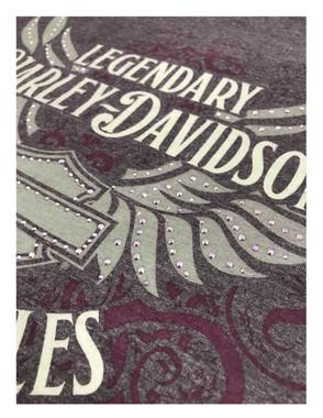 Harley-Davidson Women's Embellished B&S Winged Long Sleeve Shirt, Vintage Purple - Wisconsin Harley-Davidson