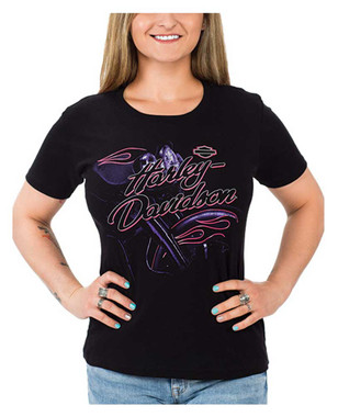 Harley-Davidson Women's Abstract Motorcycle Short Sleeve Crew-Neck Tee, Black - Wisconsin Harley-Davidson