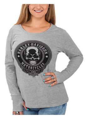Harley-Davidson Women's Edgy Skull Scoop Neck Long Sleeve Tee w/Thumbholes, Gray - Wisconsin Harley-Davidson