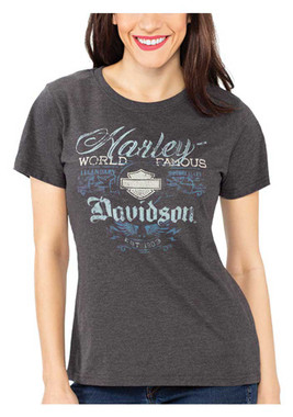 Harley-Davidson Women's Embellished Short Sleeve Poly-Blend T-Shirt, Gray - Wisconsin Harley-Davidson