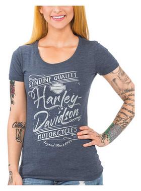 Harley-Davidson Women's Metallic Script Short Sleeve Scoop Neck Tee, Indigo - Wisconsin Harley-Davidson