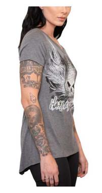 Harley-Davidson Women's Rhinestone Skull Hi-Low Hem Short Sleeve Tee - Gray - Wisconsin Harley-Davidson