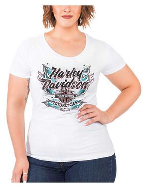 Harley-Davidson Women's Flames & Script Short Sleeve Round Neck Cotton T-Shirt - Wisconsin Harley-Davidson