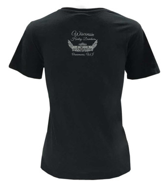 Harley-Davidson Women's Distressed Eagle V-Neck Short Sleeve Cotton Tee, Black - Wisconsin Harley-Davidson