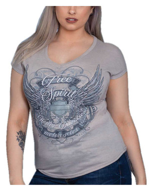 Harley-Davidson Women's Winged Free Spirit Short Sleeve V-Neck Tee, Slate - Wisconsin Harley-Davidson