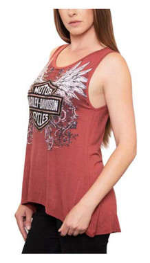 Harley-Davidson Women's Winged B&S Embellished Hi-Low Sleeveless Tank Top, Pink - Wisconsin Harley-Davidson