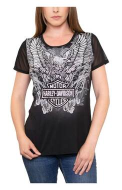 Harley-Davidson Women's Embellished Eagle & Shield Mesh Short Sleeve Tee - Black - Wisconsin Harley-Davidson