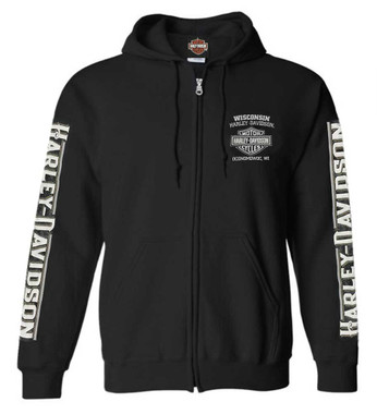 Harley-Davidson Men's Living Legend Zip-Up Poly-Blend Hoodie, Solid Black - Wisconsin Harley-Davidson