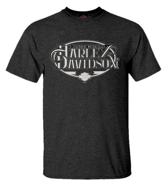 Harley-Davidson Men's Legendary Script Short Sleeve Poly-Blend T-Shirt, Black - Wisconsin Harley-Davidson