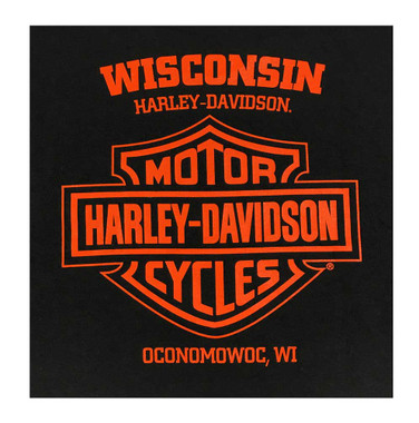 Harley-Davidson Men's Distressed Shield Pullover Poly-Blend Hoodie, Black - Wisconsin Harley-Davidson