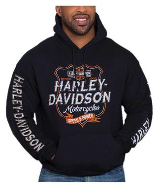 Harley-Davidson Men's Distressed Shield Pullover Poly-Blend Hoodie, Black - Wisconsin Harley-Davidson