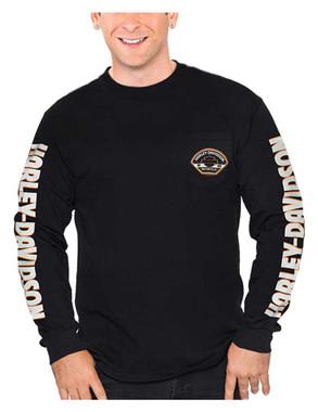 Harley-Davidson Men's Bar & Shield H-D Long Sleeve Chest Pocket T-Shirt, Black - Wisconsin Harley-Davidson