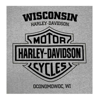 Harley-Davidson Men's Genuine Quality Short Sleeve Tri-Blend Tee, Heather Gray - Wisconsin Harley-Davidson