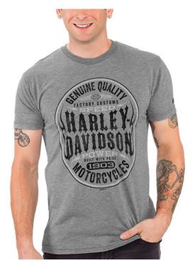 Harley-Davidson Men's Genuine Quality Short Sleeve Tri-Blend Tee, Heather Gray - Wisconsin Harley-Davidson