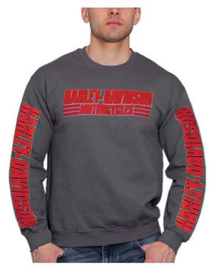 Harley-Davidson Men's Bold H-D Pullover Fleece Poly-Blend Sweatshirt, Charcoal - Wisconsin Harley-Davidson