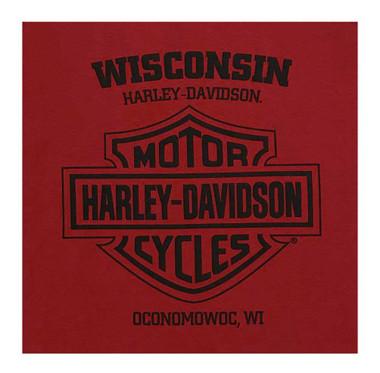 Harley-Davidson Men's V-Twin Powered Long Sleeve Crew-Neck Cotton Shirt, Red - Wisconsin Harley-Davidson