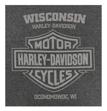 Harley-Davidson Men's Original Bar & Shield Poly-Blend Long Sleeve Shirt, Gray - Wisconsin Harley-Davidson