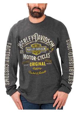 Harley-Davidson Men's Original Bar & Shield Poly-Blend Long Sleeve Shirt, Gray - Wisconsin Harley-Davidson