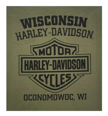 Harley-Davidson Men's Distressed Poly-Blend Long Sleeve Shirt, Military Green - Wisconsin Harley-Davidson