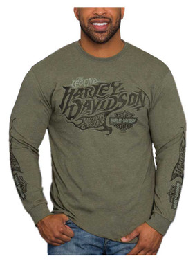 Harley-Davidson Men's Distressed Poly-Blend Long Sleeve Shirt, Military Green - Wisconsin Harley-Davidson