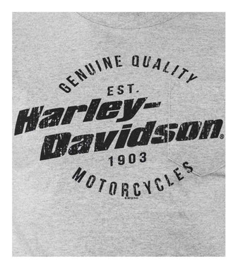 Harley-Davidson Men's Distressed H-D Chest Pocket Short Sleeve Tee, Heather Gray - Wisconsin Harley-Davidson