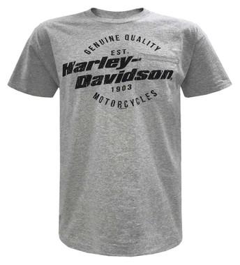 Harley-Davidson Men's Distressed H-D Chest Pocket Short Sleeve Tee, Heather Gray - Wisconsin Harley-Davidson