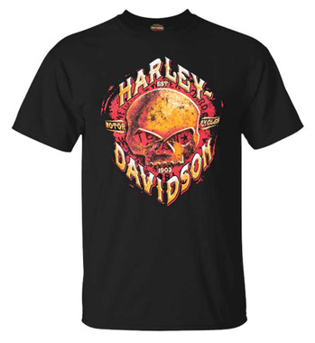 Harley-Davidson Men's Rusted Skull Crew-Neck Short Sleeve Cotton T-Shirt, Black - Wisconsin Harley-Davidson