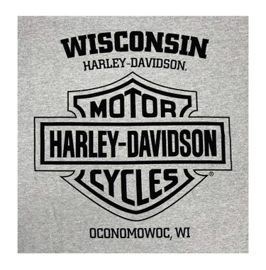 Harley-Davidson Men's V-Twin Powered Long Sleeve Crew-Neck Cotton Shirt, Gray - Wisconsin Harley-Davidson