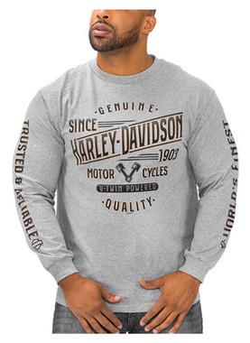Harley-Davidson Men's V-Twin Powered Long Sleeve Crew-Neck Cotton Shirt, Gray - Wisconsin Harley-Davidson