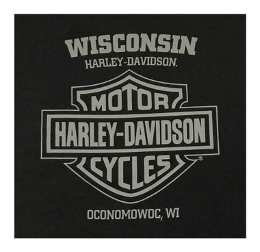 Harley-Davidson Men's Eagle Ride Long Sleeve Crew-Neck Cotton Shirt, Black - Wisconsin Harley-Davidson
