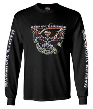 Harley-Davidson Men's Eagle Ride Long Sleeve Crew-Neck Cotton Shirt, Black - Wisconsin Harley-Davidson