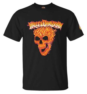 Harley-Davidson Men's Flaming Skull Crew-Neck Short Sleeve Cotton T-Shirt, Black - Wisconsin Harley-Davidson