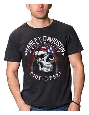 Harley-Davidson Men's Ride Free Biker Short Sleeve Cotton T-Shirt, Black Wash - Wisconsin Harley-Davidson