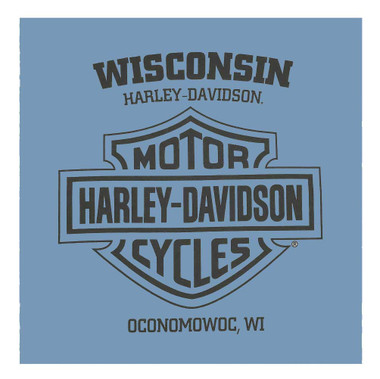 Harley-Davidson Men's Custom Bikes Long Sleeve Crew-Neck Cotton Shirt, Indigo - Wisconsin Harley-Davidson