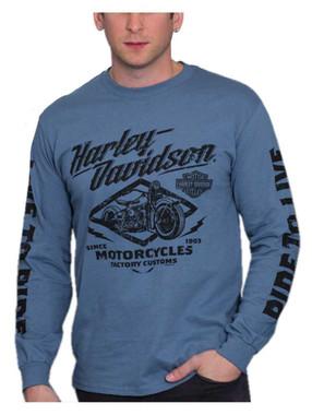 Harley-Davidson Men's Custom Bikes Long Sleeve Crew-Neck Cotton Shirt, Indigo - Wisconsin Harley-Davidson
