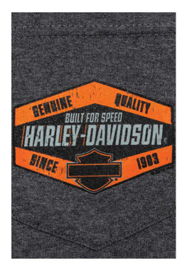 Harley-Davidson Men's Built For Speed Chest Pocket Short Sleeve Tee, Charcoal - Wisconsin Harley-Davidson