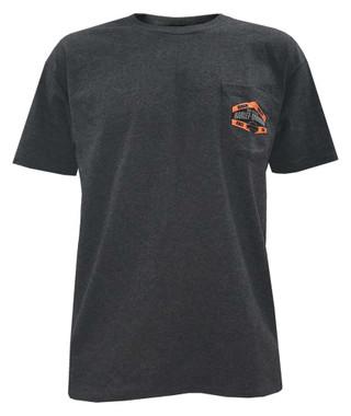 Harley-Davidson Men's Built For Speed Chest Pocket Short Sleeve Tee, Charcoal - Wisconsin Harley-Davidson