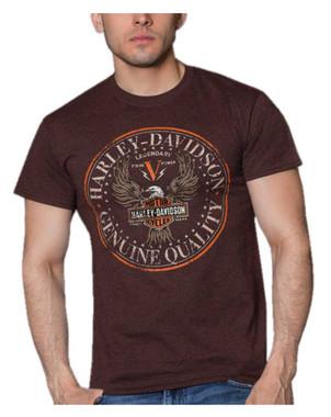 Harley-Davidson Men's Genuine Eagle Short Sleeve Poly-Blend Crew T-Shirt, Brown - Wisconsin Harley-Davidson