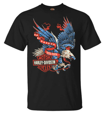 Harley-Davidson Men's Winged Eagle Crew-Neck Short Sleeve T-Shirt, Black - Wisconsin Harley-Davidson