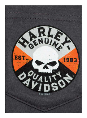 Harley-Davidson Men's Willie G Skull Chest Pocket Short Sleeve T-Shirt, Charcoal - Wisconsin Harley-Davidson