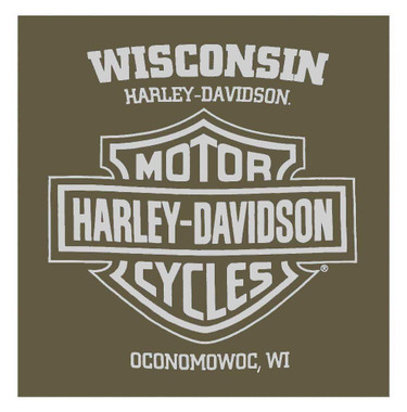 Harley-Davidson Men's Bold Script Short Sleeve Crew-Neck T-Shirt, Military Green - Wisconsin Harley-Davidson