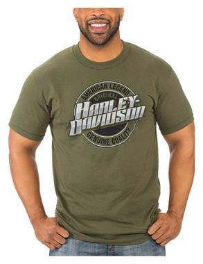 Harley-Davidson Men's Bold Script Short Sleeve Crew-Neck T-Shirt, Military Green - Wisconsin Harley-Davidson