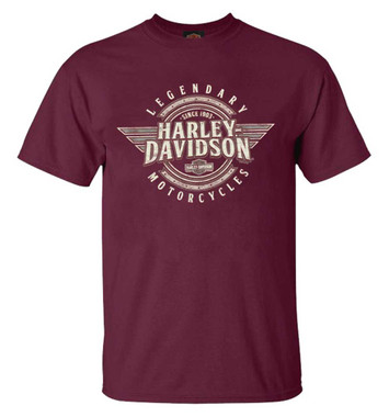 Harley-Davidson Men's Honor Wings Crew-Neck Short Sleeve Cotton T-Shirt, Maroon - Wisconsin Harley-Davidson