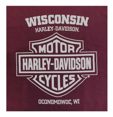 Harley-Davidson Men's Honor Wings Crew-Neck Short Sleeve Cotton T-Shirt, Maroon - Wisconsin Harley-Davidson