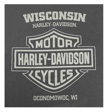Harley-Davidson Men's Majestic Eagle Short Sleeve Crew-Neck T-Shirt, Charcoal - Wisconsin Harley-Davidson