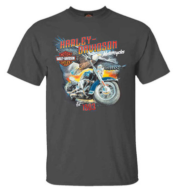 Harley-Davidson Men's Majestic Eagle Short Sleeve Crew-Neck T-Shirt, Charcoal - Wisconsin Harley-Davidson