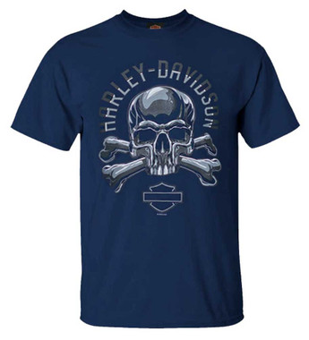 Harley-Davidson Men's Chrome Skull & Bones Short Sleeve Crew-Neck T-Shirt, Navy - Wisconsin Harley-Davidson