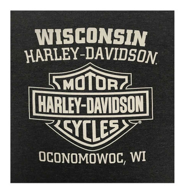 Harley-Davidson Men's V-Twin Engine Short Sleeve Poly-Blend T-Shirt, Graphite - Wisconsin Harley-Davidson