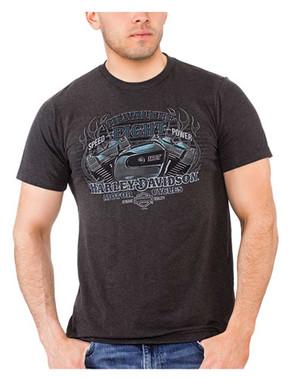 Harley-Davidson Men's V-Twin Engine Short Sleeve Poly-Blend T-Shirt, Graphite - Wisconsin Harley-Davidson